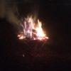スノーピークの焚火台で、針葉樹皮を使って焚火しました