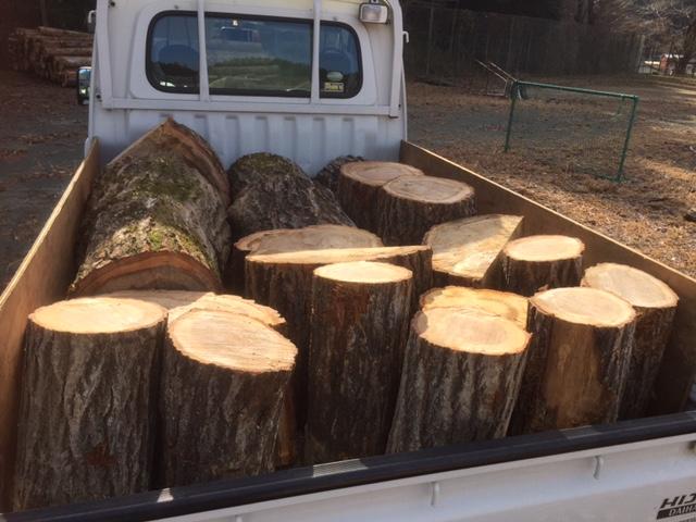 山師の土場にバイトさんをお願いして薪用の原木を回収してきた