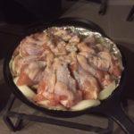【薪ストーブ料理】チキン料理を作りましたぜ!