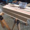 【薪棚改善】敷居の塗装。ガードラックアクア ブラウンを塗りたくる!