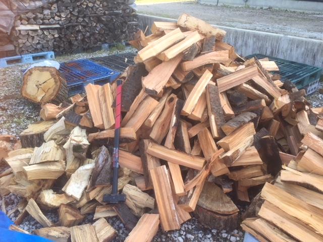 大量に薪を割ってる