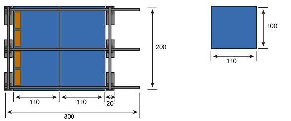 とりあえず作る3mの棚はこんなかんじです。