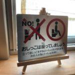 我が家のトイレはフローリング&板間なので、立ちションを禁止しております。そんなトイレに、「座わションプレート」です。